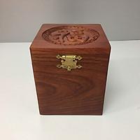 Hộp đựng trà, đựng chè gỗ hương xịn, khắc hoa văn chữ Phúc.