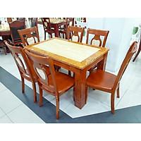 Bàn ăn mặt đá hình chữ nhật 6 ghế màu vàng - hàng nhập Malaysia