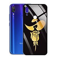 Ốp Lưng Mạ Màu Vàng Ánh Kim cho điện thoại Xiaomi Redmi Note 7 Pro - 0371 8010 ROSE14 - Hoa hồng cách điệu hình cô gái - Hàng Chính Hãng