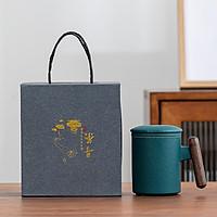 Cốc lọc trà phong cách Nhật Bản bằng gốm cao cấp, Cốc pha trà quai gỗ ( có hộp đi kèm )