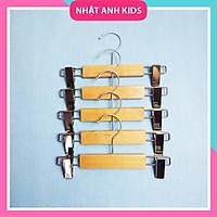 Set 5 Móc kẹp 2 đầu quần áo trẻ em, màu gỗ tự nhiên bền đẹp