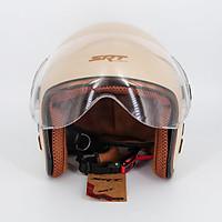 Mũ bảo hiểm 3/4 SRT 368K viền đồng lót nâu cao cấp có thông gió - kính càng - Màu Kem - dành cho người đi phượt