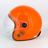 Mũ bảo hiểm 3/4 SRT 368K viền đồng lót nâu cao cấp có thông gió - kính càng - Màu Cam - dành cho người đi phượt