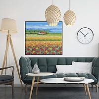 Tranh canvas phong cách sơn dầu - Phong cảnh Cánh đồng hoa - PC031