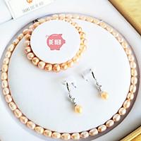 Bộ trang sức ngọc trai nuôi nước ngọt 3 món - Tặng quà - Trang sức Bé Heo BHB180