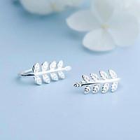 Bông tai chiếc lá bạc đẹp, khuyên hoa tai cá tính trang sức phong cách Hàn Quốc Minh Thoa Jewelry