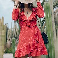 Đầm Xếp Li Tay Dài Đơn Giản In Họa Tiết Sao Thời Trang Mùa Thu Gợi Cảm Cổ Chữ V
