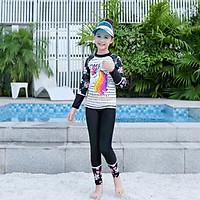 Đồ bơi cho bé gái dài tay quần dài chống nắng họa tiết Kỳ lân bao gồm nón