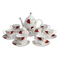 Bộ tách trà Sứ xương 15 món Bone Porcelain 15L (Bình 1.4L, tách 200ml) (Nhiều hoa văn)