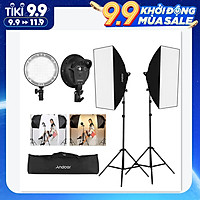Andoer Studio Photography Softbox LED Light Kit Including 20*28 Inches Softboxes 45W Bi-color Temperature 2700K/5500K