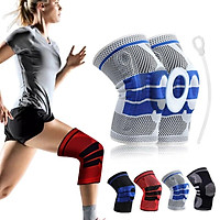 1PC Silicone Knee Pads Full Knee Brace Strap Patella Medial Support Strong Meniscus Compression Protection Sport Pads Basketball