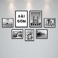 Bộ Khung Ảnh Treo Tường Sài Gòn Xưa Trắng Đen Nghệ Thuật Tặng Kèm bộ ảnh như hình mẫu, đinh treo tranh và sơ đồ treo - PGC292