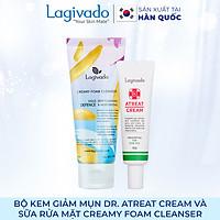 Bộ đôi Kem giảm mụn, ngừa thâm sẹo Hàn Quốc Lagivado Dr. Atreat Cream 30 ml  và sữa rửa mặt Creamy Foam Cleanser 50ml