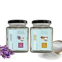 Bộ Đôi Muối Epsom Ướp Hoa Lavender và Tinh Dầu Quế Gừng Ngâm Chân giúp  thải độc tố cơ thể, giảm đau nhức đem lại giấc ngủ ngon (Tặng kèm 1 thỏi Son thiên nhiên)