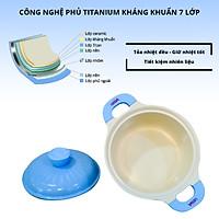 Nồi kháng khuẩn 7 lớp phủ titanium  Happy Home Pro màu xanh dương size 20cm