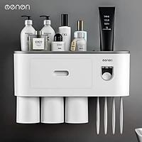 Bộ Nhả Kem Đánh Răng OENON kèm 3 cốc hút từ tính lắp đặt dán tường - OEKEM03