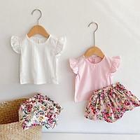 Bộ Đồ Bé Gái Chân Váy Hoa Nhí Kèm Áo Đũi Hàn Dễ Thương - Babi mama