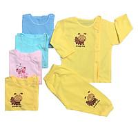 Combo 3 bộ quần áo sơ sinh cotton tay dài cài lệch màu THT-3BOTDCL