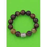 Vòng đeo tay Phật Như lao inox trắng - Chuỗi đeo tay đá mã não nâu sọc 14 ly VMNNSNLT14 - Chuỗi đeo tay đá phong thủy