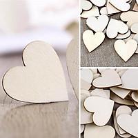 Set 10 miếng gỗ DIY trang trí (Hình tròn, Trái tim, Ngôi sao tùy chọn)