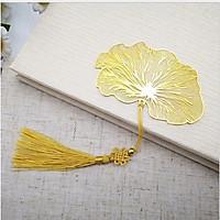Bookmark đánh dấu trang sách lá sen vàng cao cấp quà tặng ý nghĩa BK03