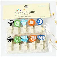 Set 10 Cái Kẹp Gỗ Sơn Design Pub hình Thời tiết (Tặng 1,5m dây cói)