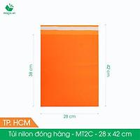 MT2C - 28x42 cm - Túi nilon gói hàng - 500 túi niêm phong đóng hàng màu cam
