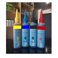 Bộ 4 chai mực bơm cho máy in phun Canon màu chuẩn, bảo vệ đầu phun (Mực nước nạp, đổ cho máy in Inkjet Ink Canon)
