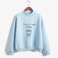 Áo sweater nữ có chữ coffee