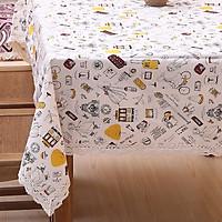 Khăn trải bàn vải bố - Họa tiết Vintage hành lý nâu vàng - mẫu K05
