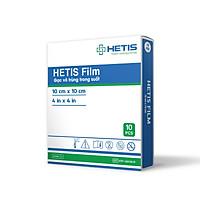 Hộp Gạc vô trùng chống thấm nước  HETIS Film HTF 100100-R (Hộp 10 miếng 10x10cm) - Bảo vệ vết thương chống nhiễm trùng