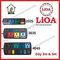 Ổ cắm điện LiOA đa năng kết hợp - 2D2S, 3D3S, 4D6S dây dài 3m/5m - Chính Hãng - MITA