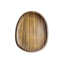 Đĩa gỗ óc chó tự nhiên nguyên khối màu nâu hình đá cuội đựng trà bánh đồ ăn đĩa gỗ decor phụ kiện phòng ăn