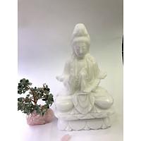 Tượng Phật Bà Quan Âm trắng đá tự nhiên cao - cao 30cm - nặng 6,15kg