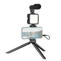 Vlog Shooting Kit Mini LED Video Light + Super Cardioid Condenser Microphone + Extendable Phone Clip + Tripod with 3