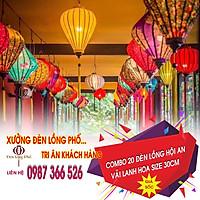 Combo 20 đèn lồng Hội An vải lanh hoa nhiều màu  size 30 cm chuyên dùng để trang trí quán xá , nhà cửa