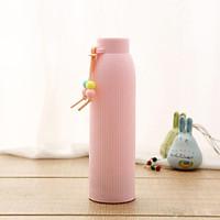 Bình Nước Thủy Tinh Giữ Nhiệt Bọc Nhựa 420ml (Giao màu Ngẫu Nhiên)