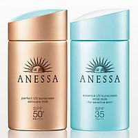 Combo chống nắng Anessa tiện lợi (Perfect UV Sunscreen Skincare Milk - SPF 50+, PA++++ - 60ml + UV Sunscreen Mild Milk - SPF35, PA+++ - 60ml)