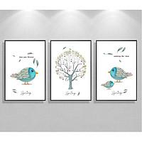 Decal dán tường bộ 3 chim mùa xuân tình yêu dễ thương Tipo_0230