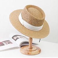Mũ cói vành rộng đai chéo - nón cói vành to chống nắng, đi biển phong cách