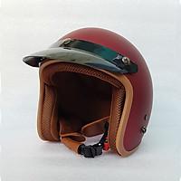 Mũ Bảo Hiểm 3/4 đầu Lót Nâu ( MÀU ĐỎ ĐÔ ) - Hàng CTY - Cam Kết Chất Lượng Giống Hình 100%