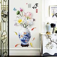 Decal dán tường hoa sen bình sen xanh sang trọng