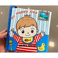 """Đồ chơi sơ sinh an toàn - Cuốn sách vải tương tác với bé chủ đề:""""Một ngày vui vẻ của tôi""""-My happy day-Hàng xuất khẩu"""