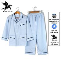 Bộ pijama nam dài tay trung niên vải cotton mặc mát thoải mái cho người già loại bộ đồ trung niên pijama mặc nhà loại caro (Giao ngẫu nhiên)