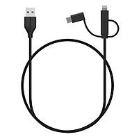 Dây Cáp Sạc 3 Trong 1 RAVPower (Lightning MFi Cho iPhone, Type C, Micro USB) 1m RP-CB021 - Hàng Chính Hãng