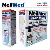 Combo Adult Full Protect: Bình Xịt Rửa Vệ Sinh Mũi Xoang Người Lớn NeilMed Sinus Rinse & Spray -SX Mỹ, Đánh Bật Sổ Mũi, Ngạt Mũi và Viêm Mũi (Bình 60 gói muối rửa; 1 chai xịt phun sương 75ml)