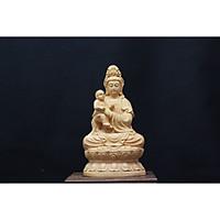 Tượng Quan Âm Tống Tử ( Tống Tử Quan Âm- Quan Âm Bồng Em Bé) - làm bằng Gỗ Hoàng Dương, cao khoảng 14cm