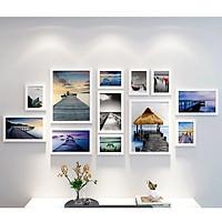 Bộ khung ảnh treo tường composite Chiếc cầu gỗ tặng đinh 3 chân  KA236