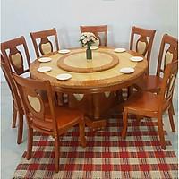 Bàn ăn mặt đá  tròn - 8 ghế màu vàng - nhập khẩu Malaysia