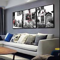 Bộ 3 tranh canvas treo tường Decor Hoa trang trí, phong cách cổ điển kết hợp hiện đại- DC096